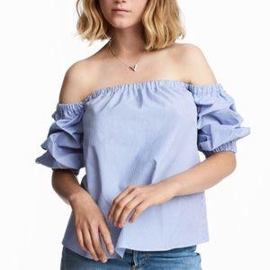 Blue & White Stripe Off Shoulder Blouse
